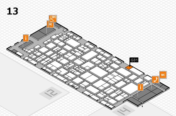 glasstec 2016 hall map (Hall 13): stand G31