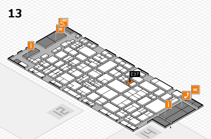 glasstec 2016 Hallenplan (Halle 13): Stand E37