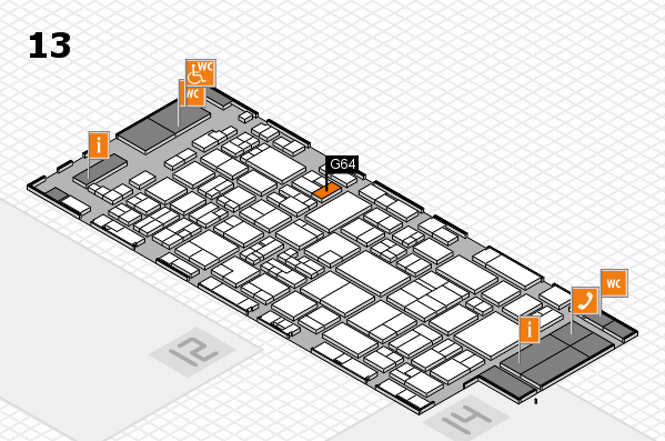 glasstec 2016 hall map (Hall 13): stand G64