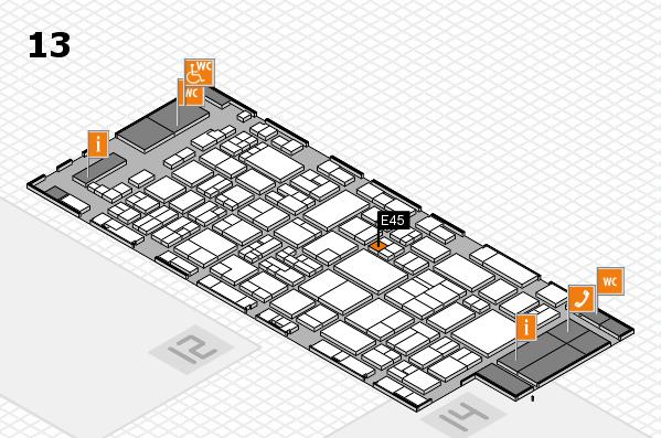glasstec 2016 hall map (Hall 13): stand E45