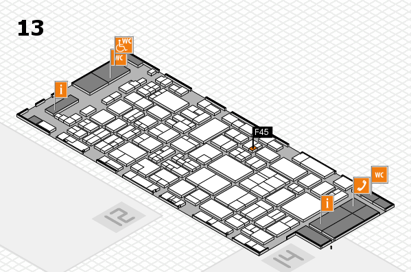 glasstec 2016 hall map (Hall 13): stand F45