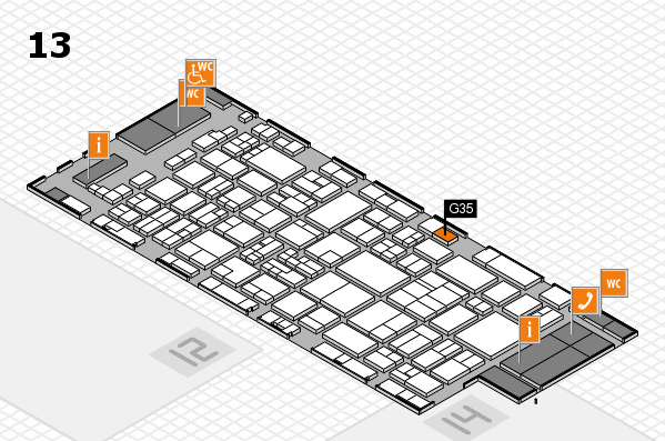 glasstec 2016 hall map (Hall 13): stand G35