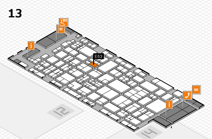 glasstec 2016 hall map (Hall 13): stand E63