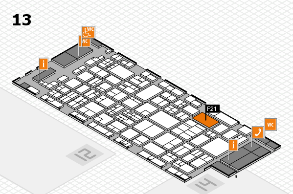glasstec 2016 hall map (Hall 13): stand F21