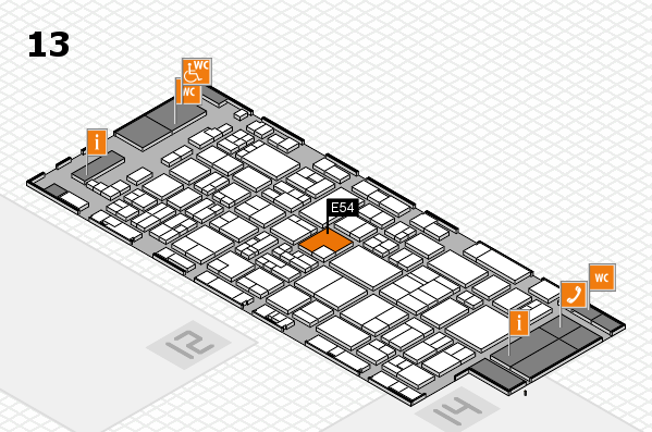 glasstec 2016 hall map (Hall 13): stand E54