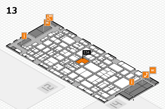 glasstec 2016 hall map (Hall 13): stand E54