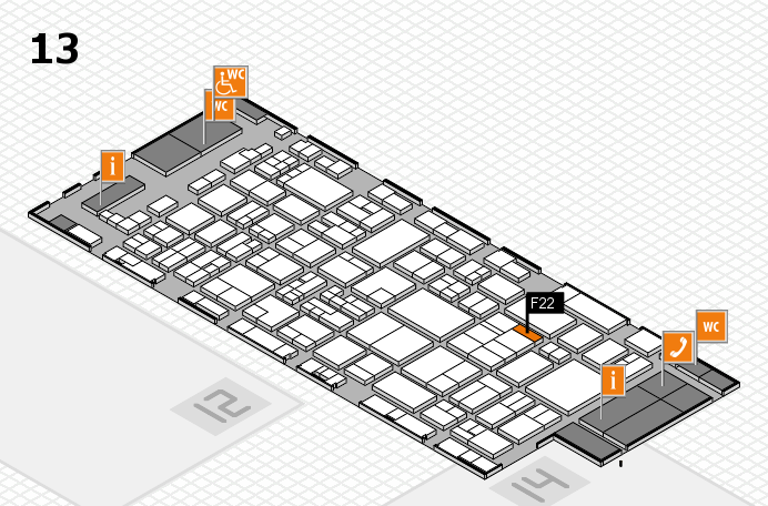 glasstec 2016 Hallenplan (Halle 13): Stand F22