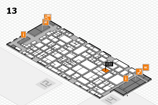 glasstec 2016 hall map (Hall 13): stand E22