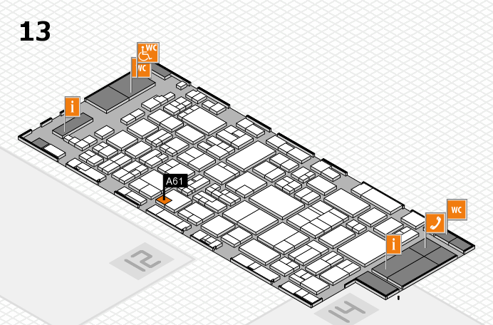 glasstec 2016 hall map (Hall 13): stand A61