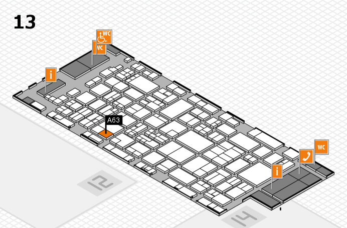 glasstec 2016 hall map (Hall 13): stand A63