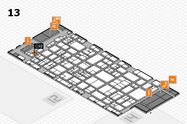 glasstec 2016 hall map (Hall 13): stand C92