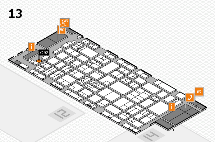 glasstec 2016 hall map (Hall 13): stand C92