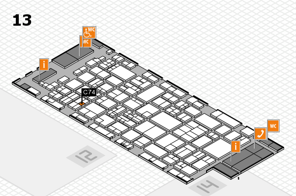 glasstec 2016 hall map (Hall 13): stand C74