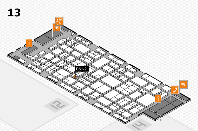 glasstec 2016 Hallenplan (Halle 13): Stand B61-2