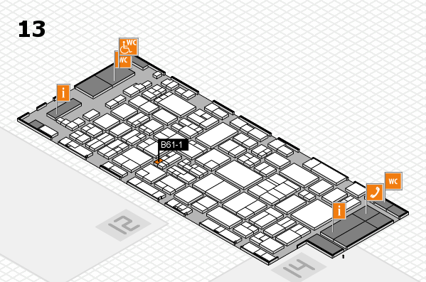 glasstec 2016 hall map (Hall 13): stand B61-1