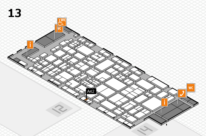 glasstec 2016 hall map (Hall 13): stand A42