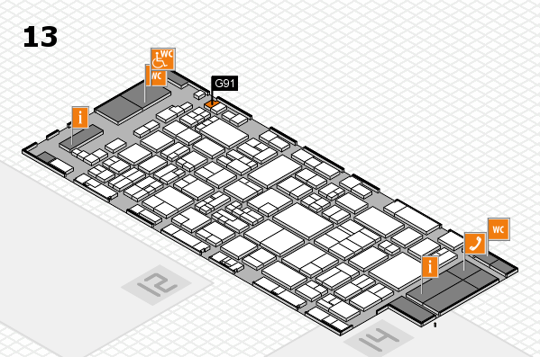 glasstec 2016 hall map (Hall 13): stand G91