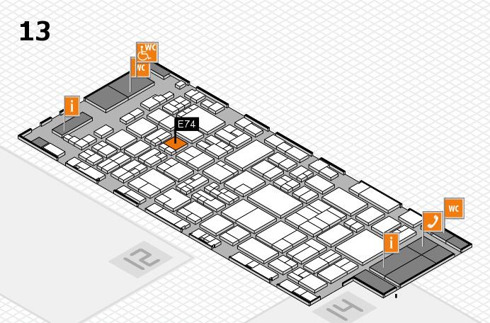 glasstec 2016 Hallenplan (Halle 13): Stand E74