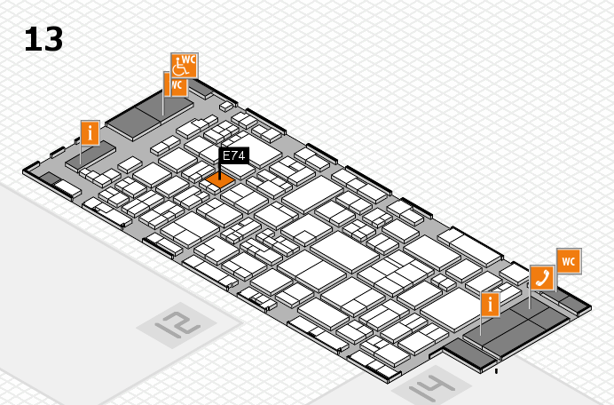 glasstec 2016 hall map (Hall 13): stand E74