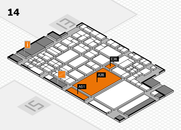 glasstec 2016 hall map (Hall 14): stand A38, stand E38