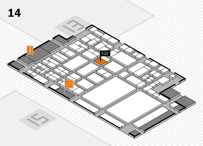 glasstec 2016 hall map (Hall 14): stand E22