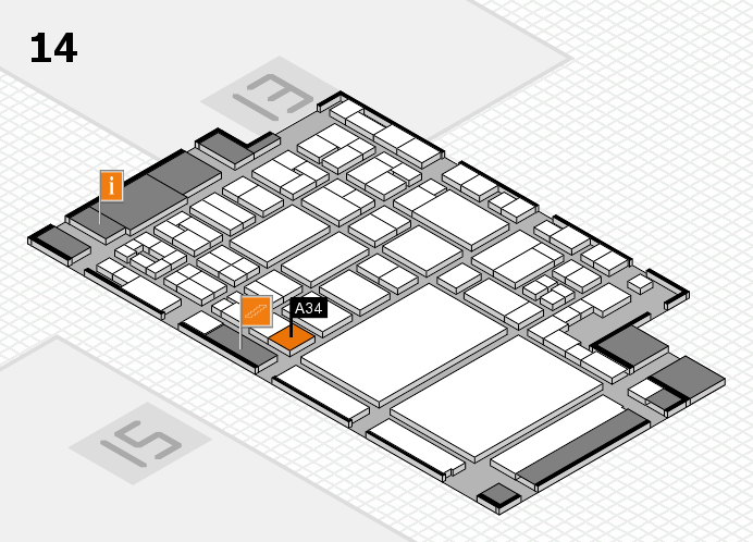 glasstec 2016 hall map (Hall 14): stand A34