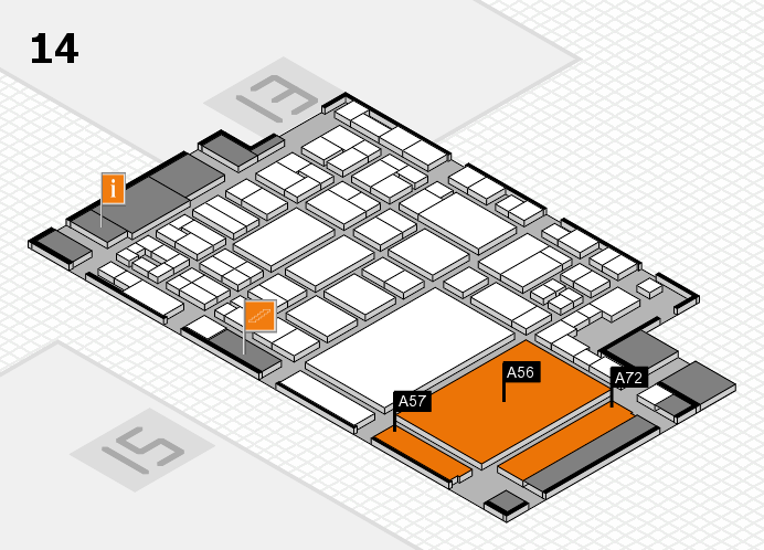 glasstec 2016 hall map (Hall 14): stand A56, stand A72