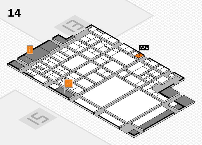 glasstec 2016 Hallenplan (Halle 14): Stand G34