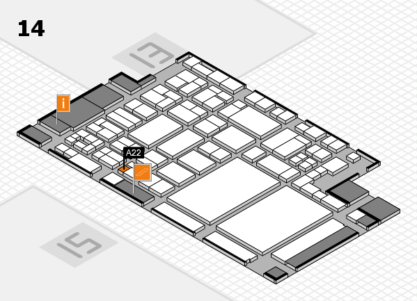 glasstec 2016 hall map (Hall 14): stand A22