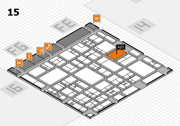 glasstec 2016 hall map (Hall 15): stand A23