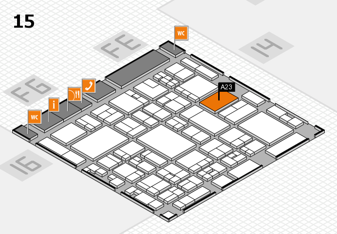 glasstec 2016 hall map (Hall 15): stand A23