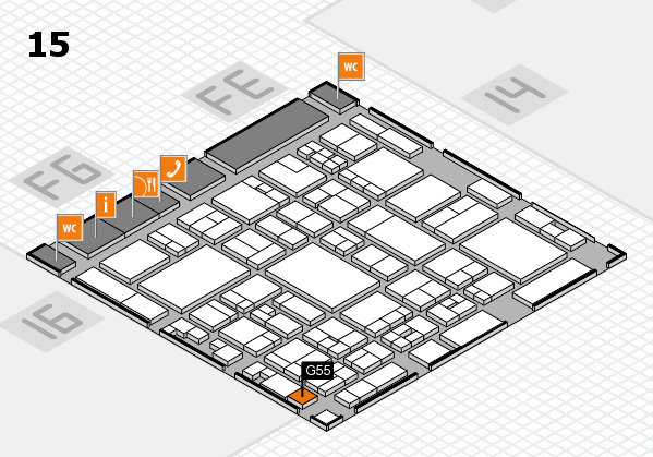 glasstec 2016 hall map (Hall 15): stand G55