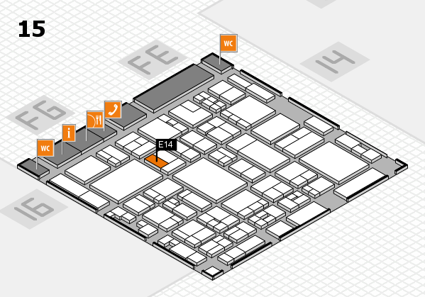glasstec 2016 hall map (Hall 15): stand E14