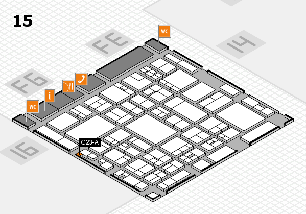 glasstec 2016 hall map (Hall 15): stand G23-A