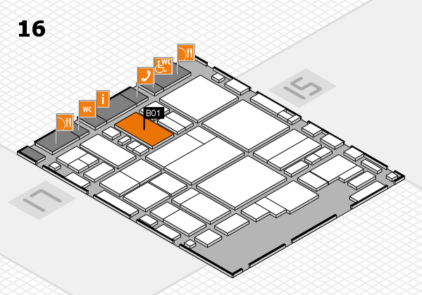 glasstec 2016 Hallenplan (Halle 16): Stand B01