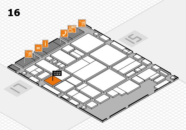 glasstec 2016 Hallenplan (Halle 16): Stand D22