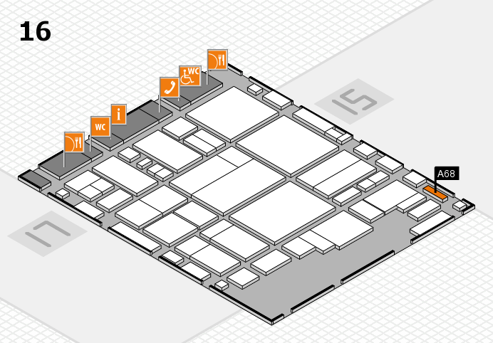 glasstec 2016 hall map (Hall 16): stand A68