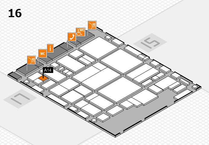 glasstec 2016 hall map (Hall 16): stand A14