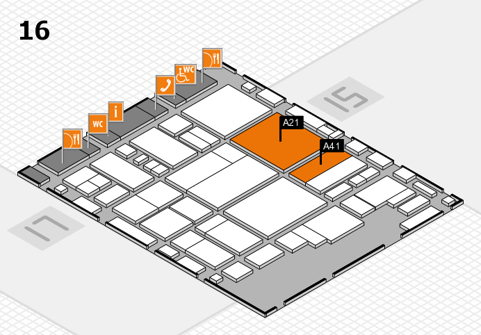 glasstec 2016 hall map (Hall 16): stand A21, stand A41
