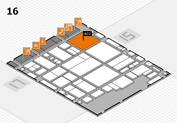 glasstec 2016 hall map (Hall 16): stand A03
