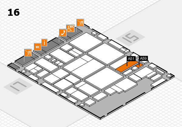 glasstec 2016 hall map (Hall 16): stand A51, stand A59