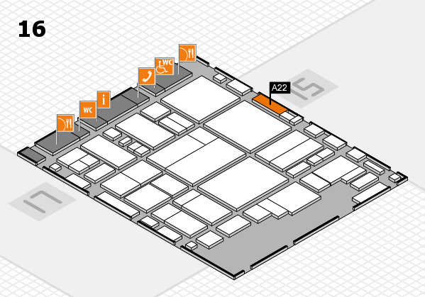 glasstec 2016 hall map (Hall 16): stand A22