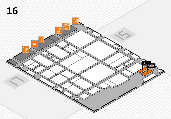 glasstec 2016 hall map (Hall 16): stand A65, stand A69