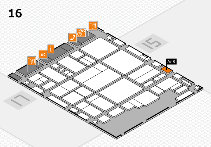 glasstec 2016 hall map (Hall 16): stand A58