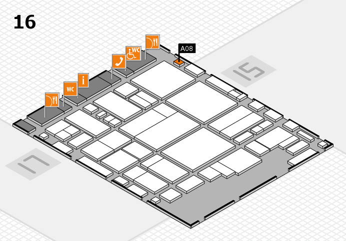 glasstec 2016 hall map (Hall 16): stand A08
