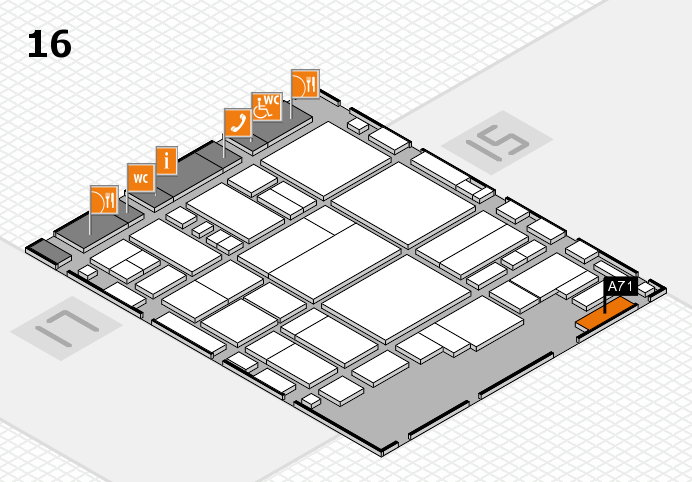 glasstec 2016 hall map (Hall 16): stand A71