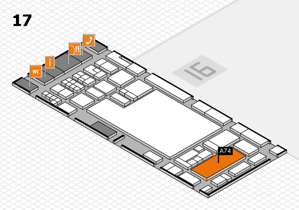 glasstec 2016 hall map (Hall 17): stand A74