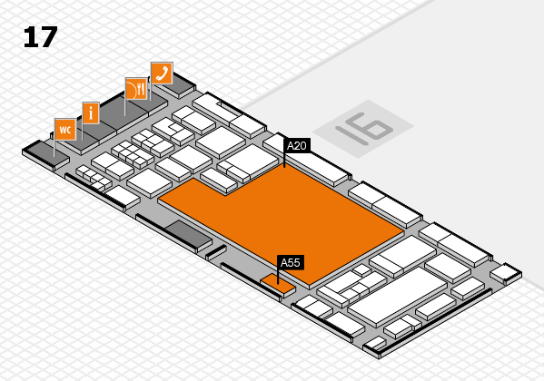 glasstec 2016 hall map (Hall 17): stand A20, stand A55