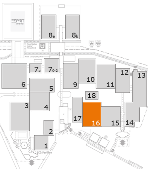 glasstec 2016 fairground map: Hall 16