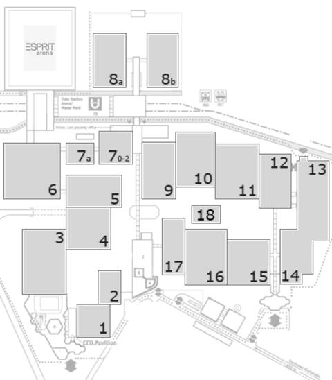 glasstec 2016 Geländeplan: Eingang Nord